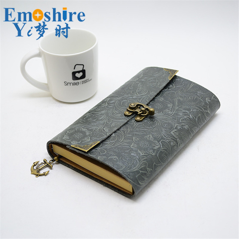 Emoshire Leather Retro Horns Students Stationery Buckles Notebook Can Printed LOGO Loose-leaf Notepad Custom for Business N122 calendar 2017 a5 calendar handbook of efficiency for industry and commerce business notepad log can be customized logo
