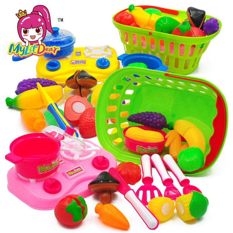 MylitDear 2017 New Brand Fruit Pretend Kitchen Cutting Set New Fruit Vegetable Food Reusable Role Play Colorful Toys Kids Gifts