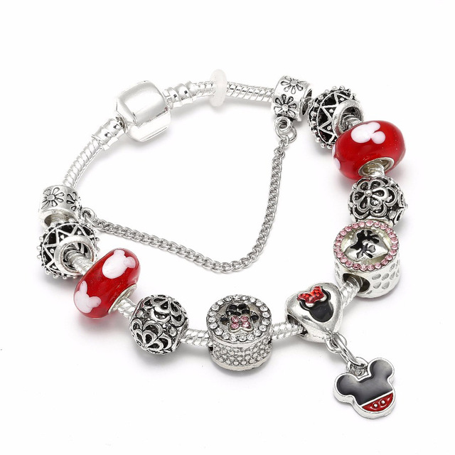 High Quality European Style Mickey Mouse Charm Bracelets Bangle Fashion Original Diy Red Minnie Pandora