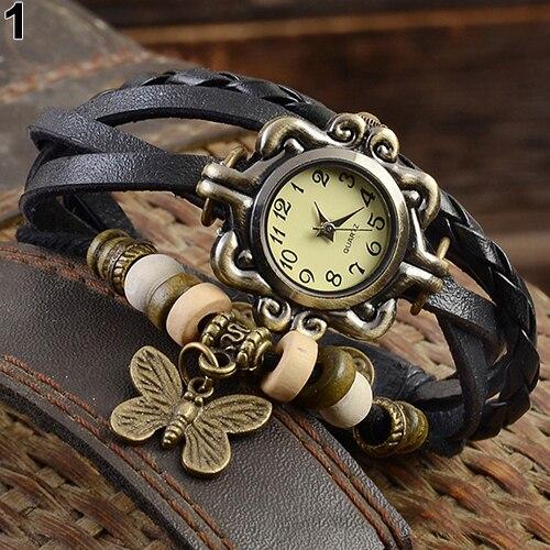 Décontracté Vintage multicouche papillon Faux cuir Bracelet Montre-Bracelet dames Femme horloge Montre Femme Relogios 2017 chaud