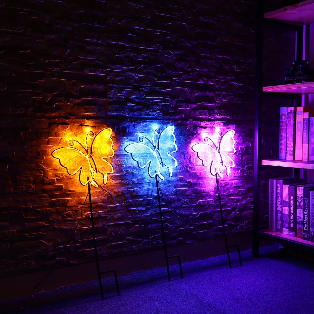 3pcs/set Butterfly Neon Sign Lights Coffee Bar Mural