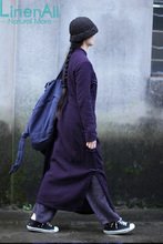 Linen clothing women's double-thick linen purple Chinese style handmade button vintage long cheongsam dress YIJIU