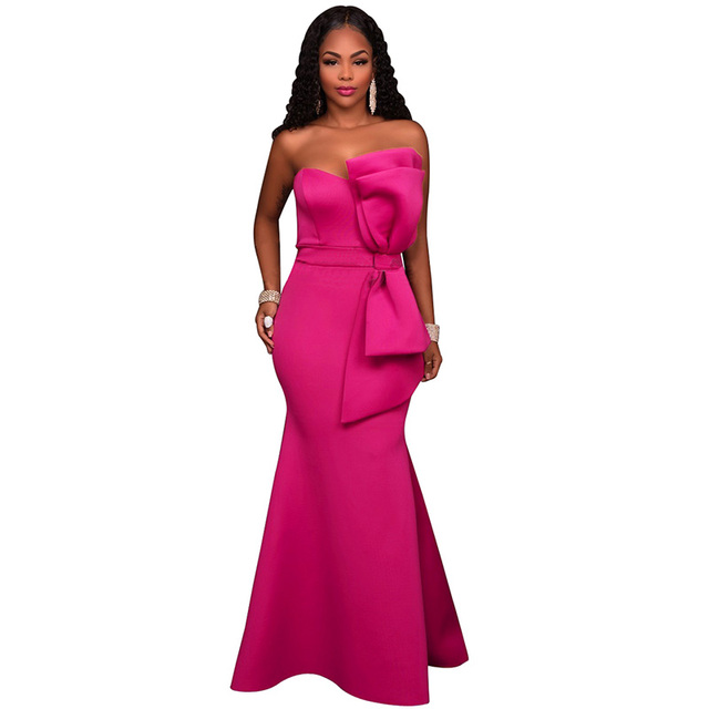 Long maxi pink evening gowns