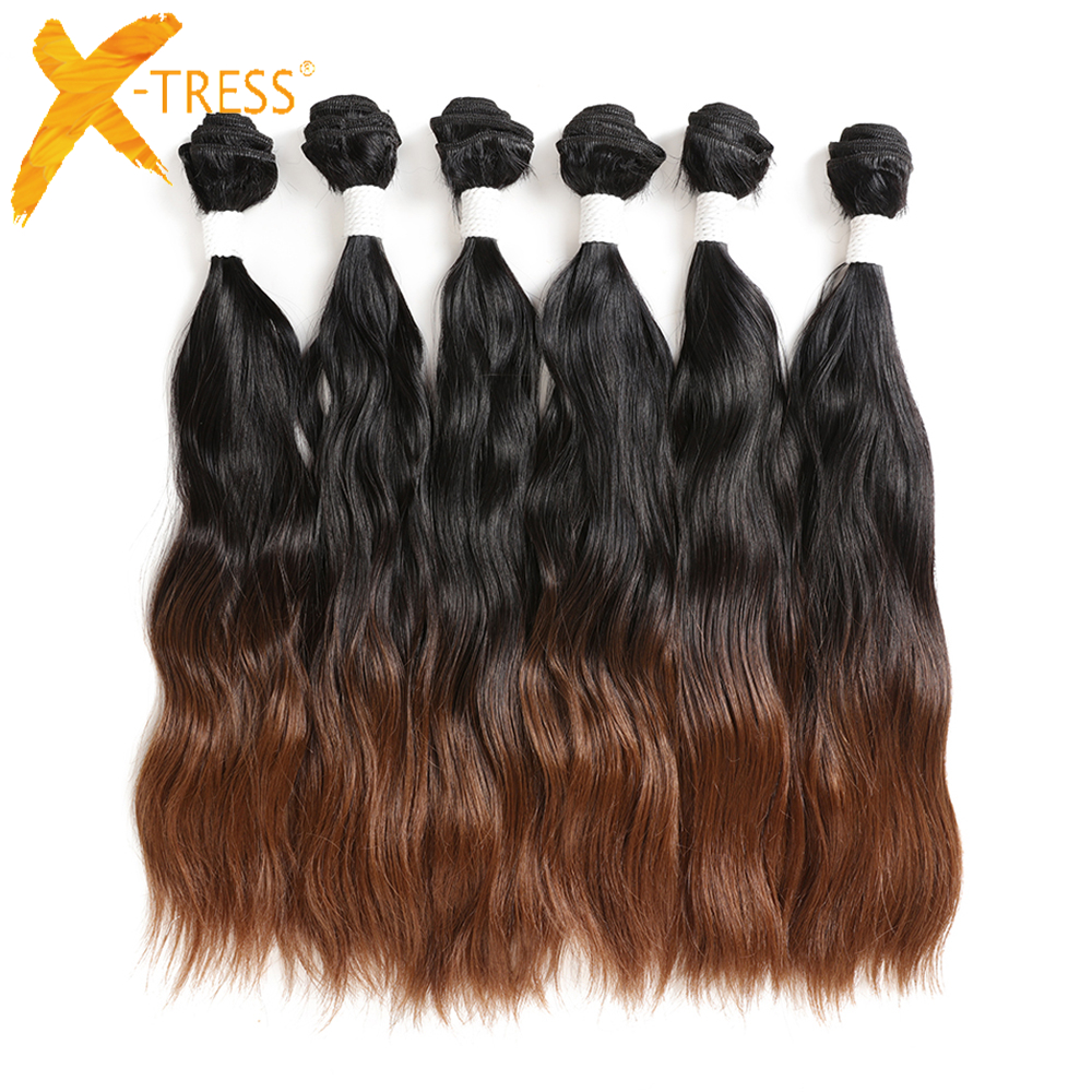 Ombre Black Brown Synthetic Hair Weaves 6 Bundles 14-20inch X-TRESS Natural Wave Soft Sew-in Hair Weft Extensions For Full Head