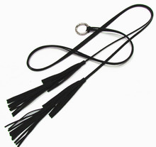 Round Buckle Double Tassels Skinny Belt