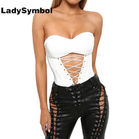 LadySymbol Lace Up Winter Strapless Sexy Women Bodysuit Hollow Off Shoulder Elegant White Leotard Jumpsuit Casual