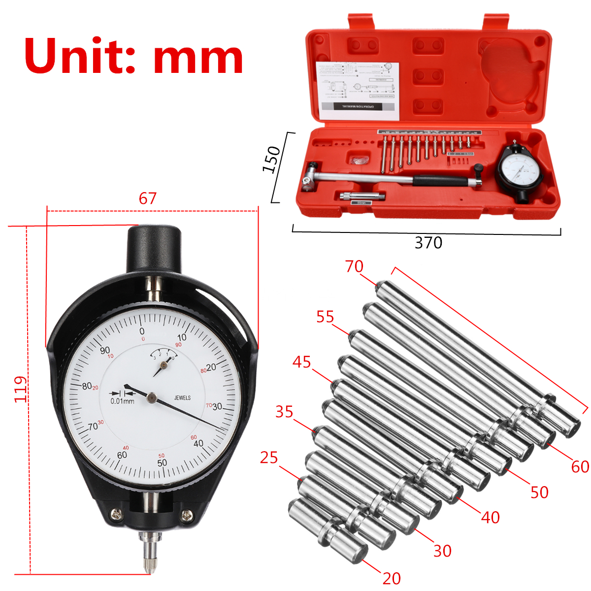 Measuring Indicator Inner Diameter Center Ring Dial 50-160mm/0.018mm Dial Bore Gauge Steel+ABS Durability Movable/Change Probe