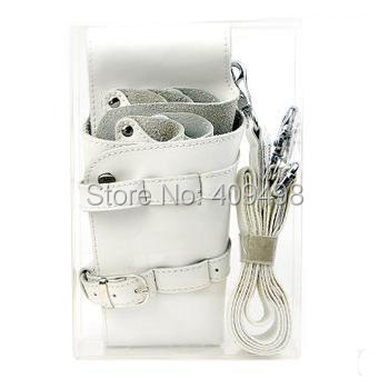 white barber hair scissors leather waist pack bag hairdressing tool