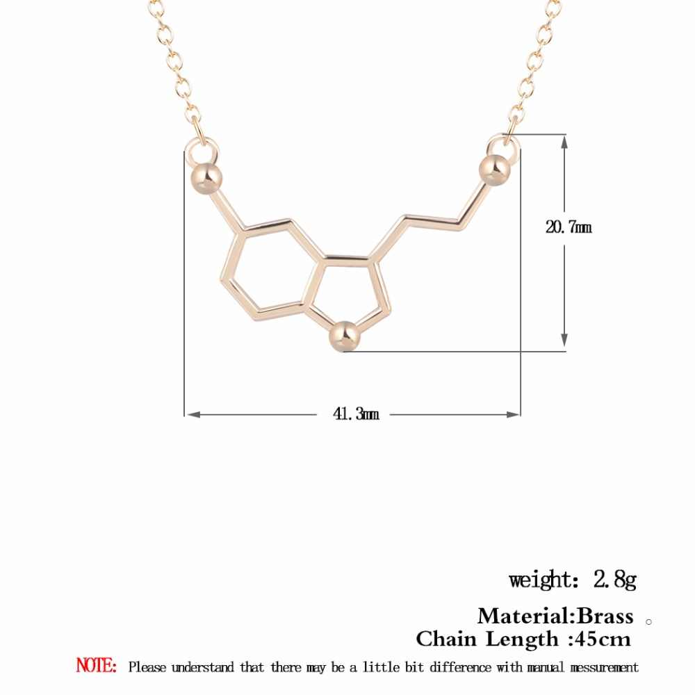 QIAMNI молекула серотонина химия геометричные, многоугольные кулон ожерелье допамин Любовь ювелирные изделия праздничный подарок на Рождество для девочек женщин