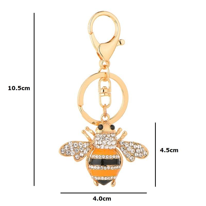 Inokeey Alloy Yellow Enamel Rhinestone Bee Key Chain Կանայք - Նորաձև զարդեր - Լուսանկար 3
