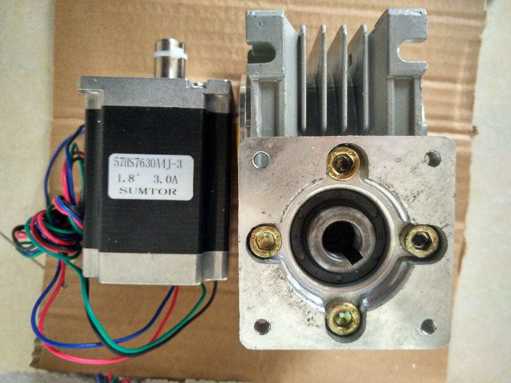 57mm Worm Gearbox Geared Stepper Motor Ratio 30:1 NEMA23 L 76mm 3A cnbtr low speed electric geared motors dc12v 2 5rpm metal gearbox motor
