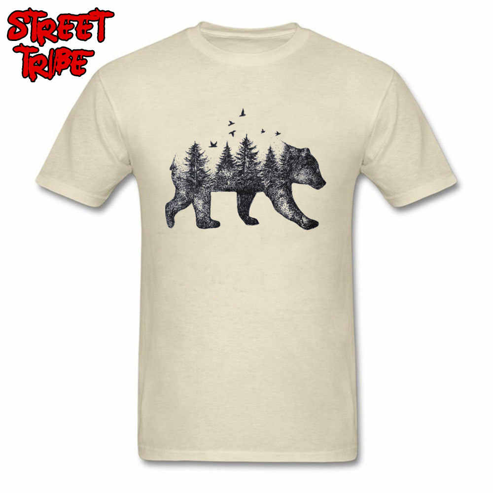 100% Cotton T-shirt Men Beige T Shirt Vintage Tshirts Bear Forest Tops Art Design Fashion Clothing Plus Size Short Sleeve Tees