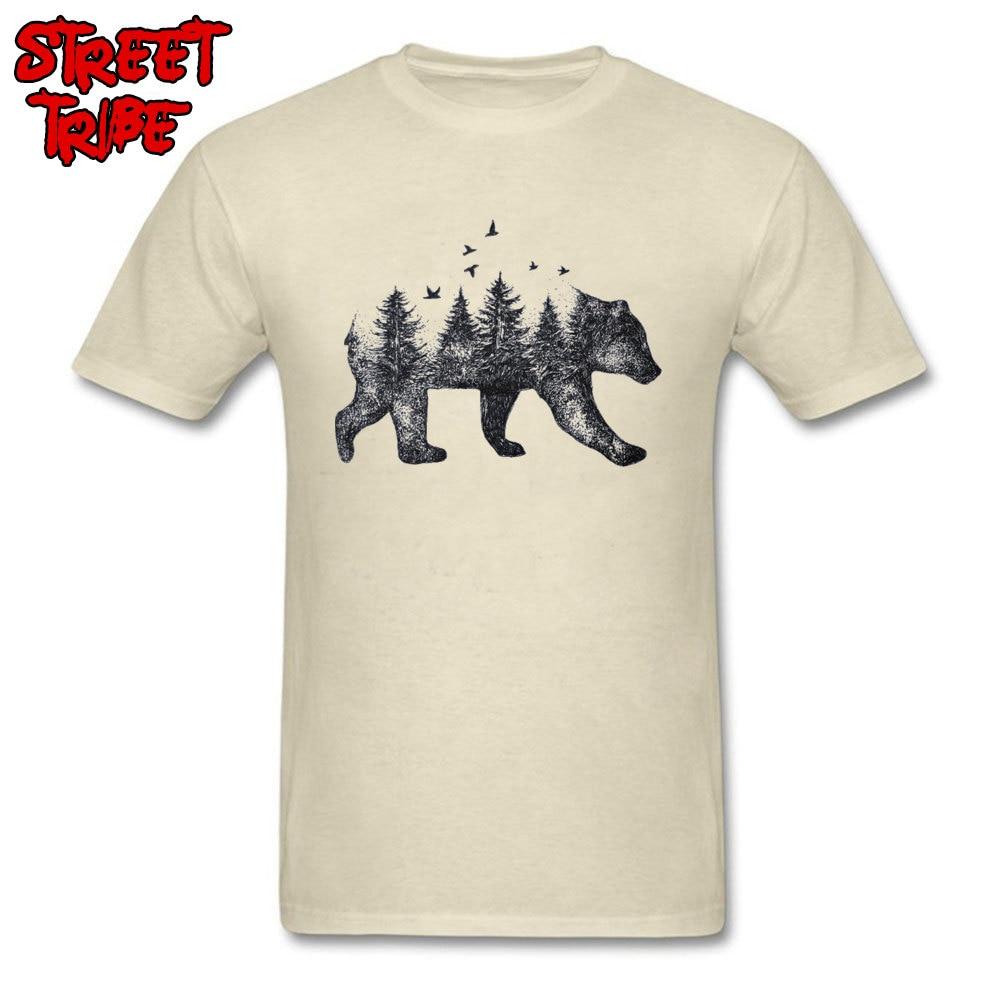 100% Cotton T-shirt Men Beige T Shirt Vintage Tshirts Bear Forest Tops Art Design Fashion Clothing Plus Size Short Sleeve Tees