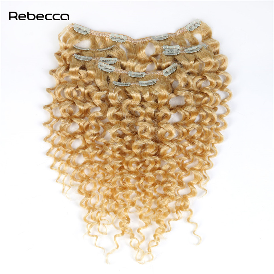 Rebecca Human Hair Clip In Extensions Peruvian Hair Remy Blonde Afro Kinky Curly Hair Color 613