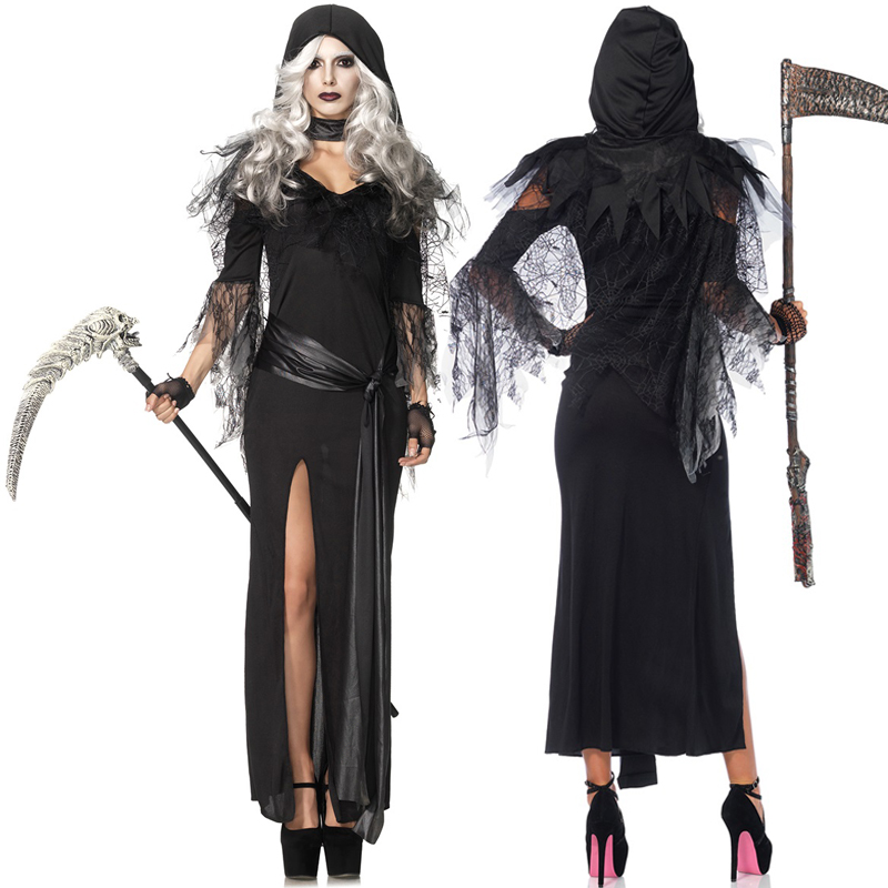halloween costume female devil sickle ghosts dead gods clothes spider witch clothing sweeps cosplaychina - Spider Witch Halloween Costume
