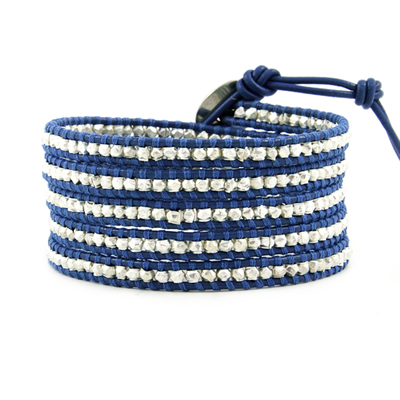 Lotusmann 925 sterling silver 5 wraps ultra long blue leather cord bracelet