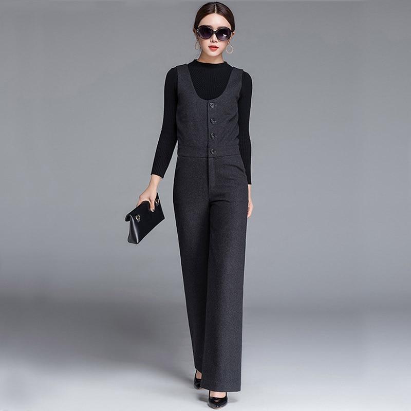 High Quality 2017 Women Woolen   Jumpsuit   For Autumn Winter OL Black Gray High Waist Office Lady Suit Business Warm Straight Suit