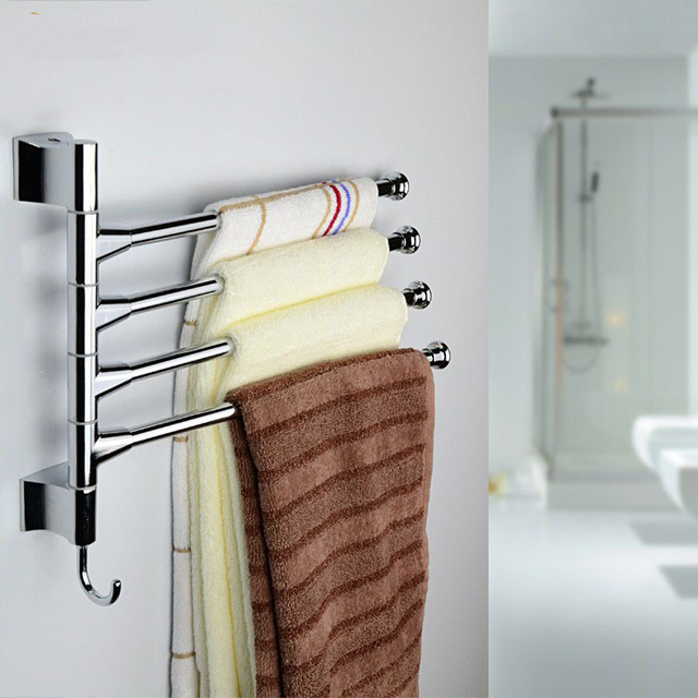 Kitchen Towel Bars Countertop Types Fashionable Stainless Steel Bar 180 Degree Rotating Rack Bathroom Rail Storage Shelf