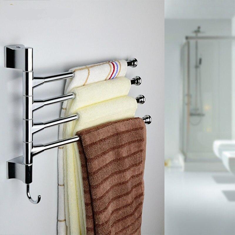 Fashionable Stainless <font><b>Steel</b></font> <font><b>Towel</b></font> Bar 180 Degree Rotating <font><b>Towel</b></font> Rack Bathroom Kitchen <font><b>Towel</b></font> Rail Storage Shelf 2 3 4 Layers