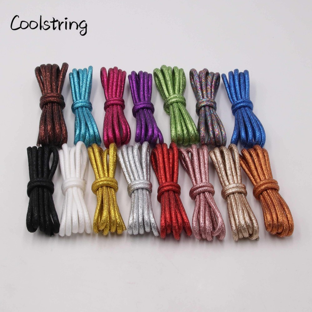 Coolstring Pure Color Rounded Metallic Shoelaces Glitter Bootlaces Flashing Shiny Fashion Latchet Pearlized For Sports Canvas