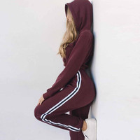 Women Set Hoodies Crop Top Sweatshirt+Side Stripe Pants Hooded 2 Pieces Sets Women Clothing Suits Female