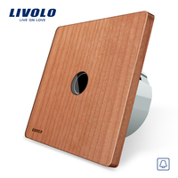 Livolo EU Standard Door Bell Switch Natural Cherry Wood Panel 220 250V Touch Screen Door Bell