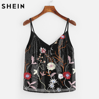 SHEIN Sequin Embroidered Dual V Neck Cami Top Sleeveless Top In Womens Black Spaghetti Strap Sexy