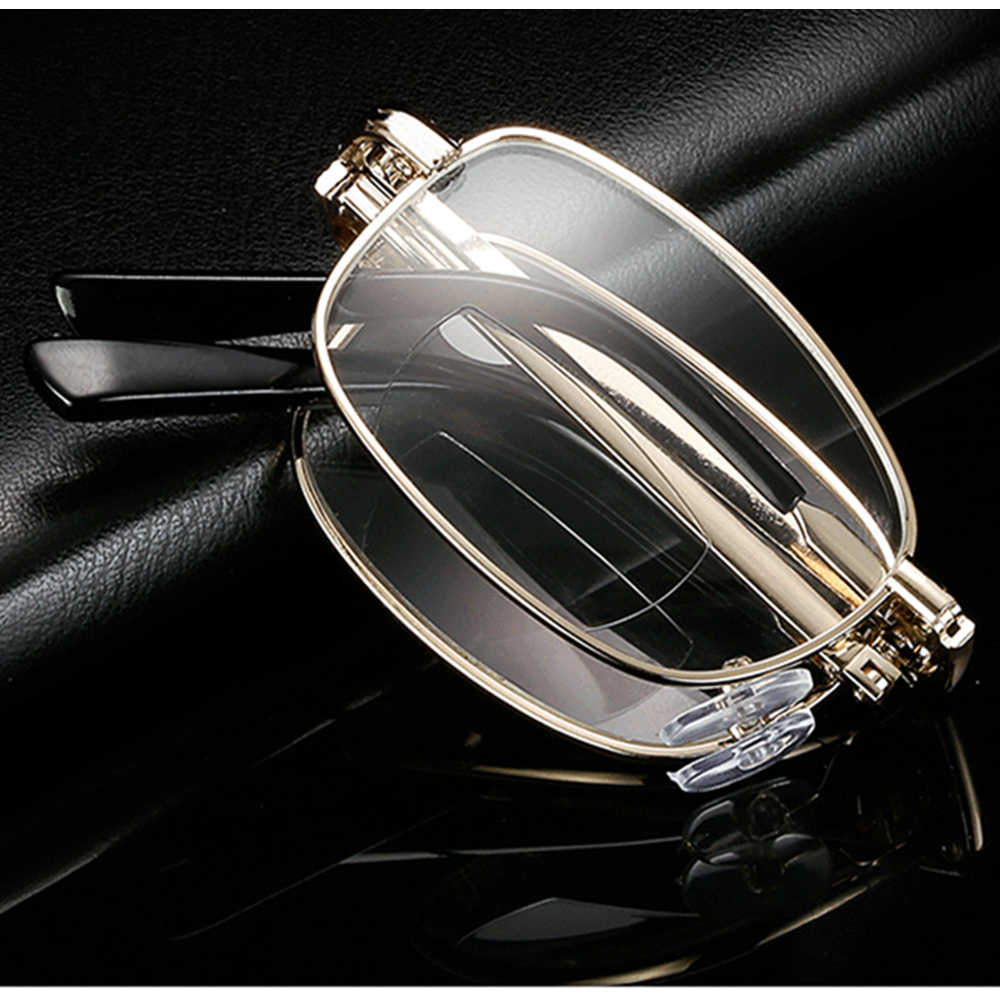 Advanced Alloy Full-rim Gold Anti-fatigue Men Women Bifocal Reading Glasses +0.75 +1.25 +1.5 +2.00 +1.75 TO +4 with Case