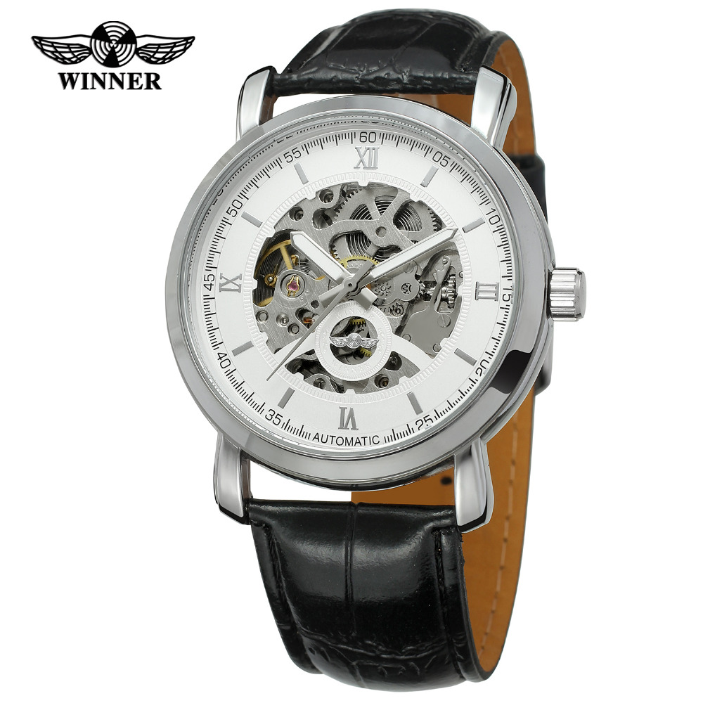 T-winner Relojes Hombre Top Luxury Brand Men Skeleton Mechanical Automatic Genuine Leather Strap Wrist Watches Male Watches 2016 wilon fashion brand top quality luxury automatic watch male skeleton mechanical watch relojes hombre marca famosa