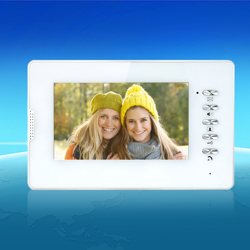 7'' TFT-LCD Color Video Door Phone Intercom System White Video Monitor Screen Indoor Machine Without IR Outdoor Camera Doorbell 7inch video door phone intercom system for 5apartment tft lcd screen 5 flat indoor monitor with night vision cmos outdoor camera