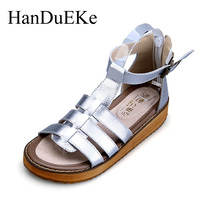 Size 34 43 New 2017 Summer Genuine Leather Women Shoes Casual Fashion Women Sandals T Strap