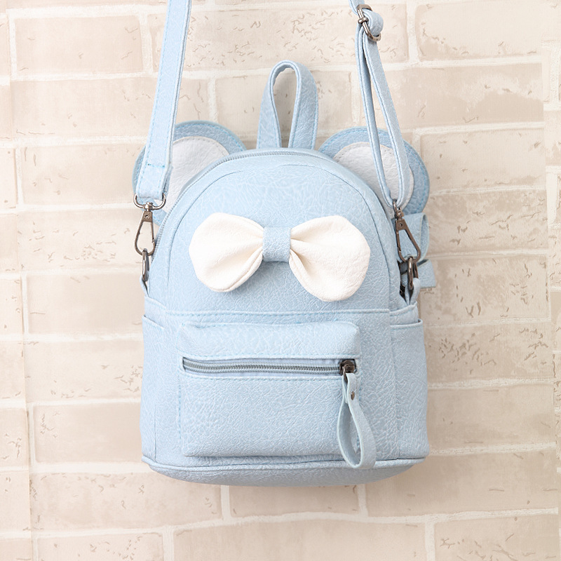 BONAMIE Mini Small Backpacks For Teenage Girls Bunny Cute Bow Backpack  Women Leather Dot Bow Back Bag Pink Mochila Feminina-in Backpacks from  Luggage   Bags ... 5e9e84fa2a15e