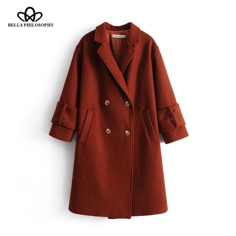 Bella Philosophy 2018 Autumn Winter Faux Fux Jacket For Women Female fashion Outwear Casual warm Coat Long Sleeves ladies Coat