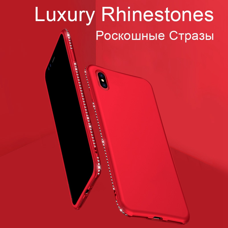 Tomkas Rhinestone Silicone Case For iPhone X 7 8 Plus Case Luxury Glitter TPU Soft Matte Cover For iPhone 6 6S Plus Cases Coque (1)