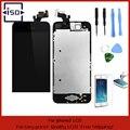 Черный Полный Передняя Сенсорного Экрана Digitizer LCD Дисплея Ремонт Ассамблея Замена для iPhone 5 ЖК-Дисплей + Закаленное стекло + Инструменты