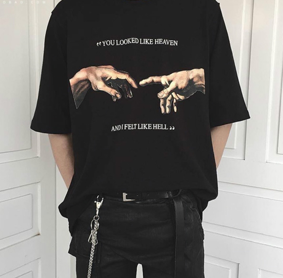 Fashionshow-JF Summer Man Tee You Looked Like Heaven And I Felt Like Hell Michaelangelo Creation Of Adam Hands Printing T Shirt