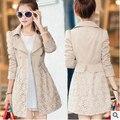 Mulheres jaqueta Elegante novo casaco de outono Coreano rendas de Slim longa seção de blusão da mulher frete grátis