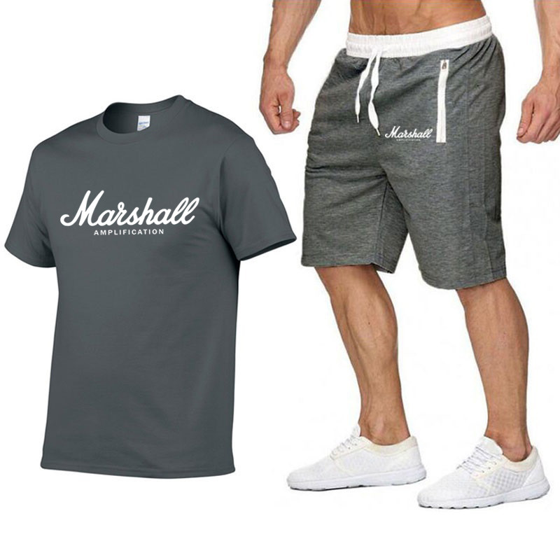 Marshall T Shirt+Shorts Men Tracksuit Suit Summer Short Sleeves T-shirt Fashion Top Tee Harajuku Hip Hop Streetwear TShirt S-2XL