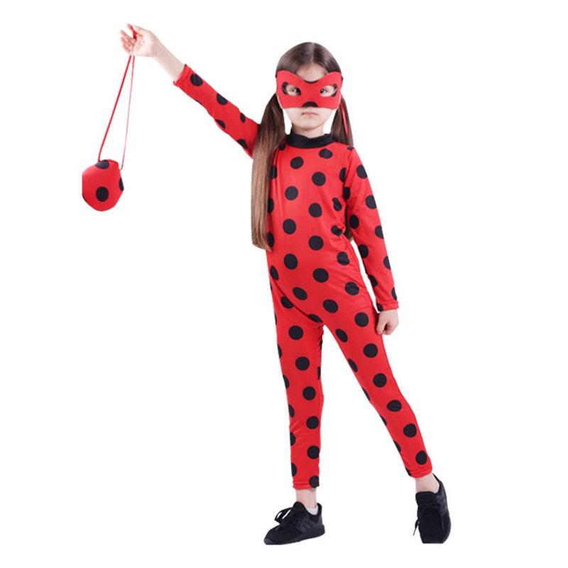 The Miraculous Ladybug Suit Halloween Cosplay Costumes Girls Marinette Ladybug Jumpsuits With Mask And Bag Children's Day Gift