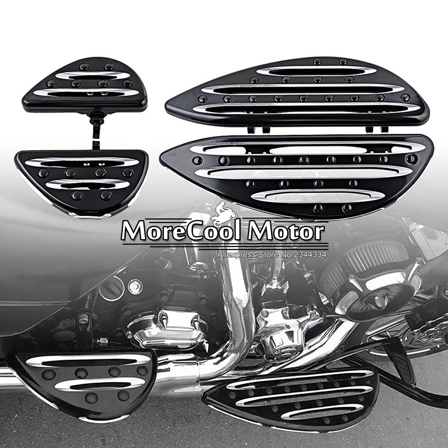 CNC Deep Cut Driver & Passenger Stretched Floorboard Footreset Set for Harley Touring Electra Road King Street Tour Glide