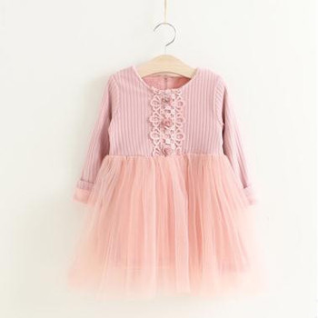 осеннее вязаное кружевное платье принцессы с цветочным рисунком для
