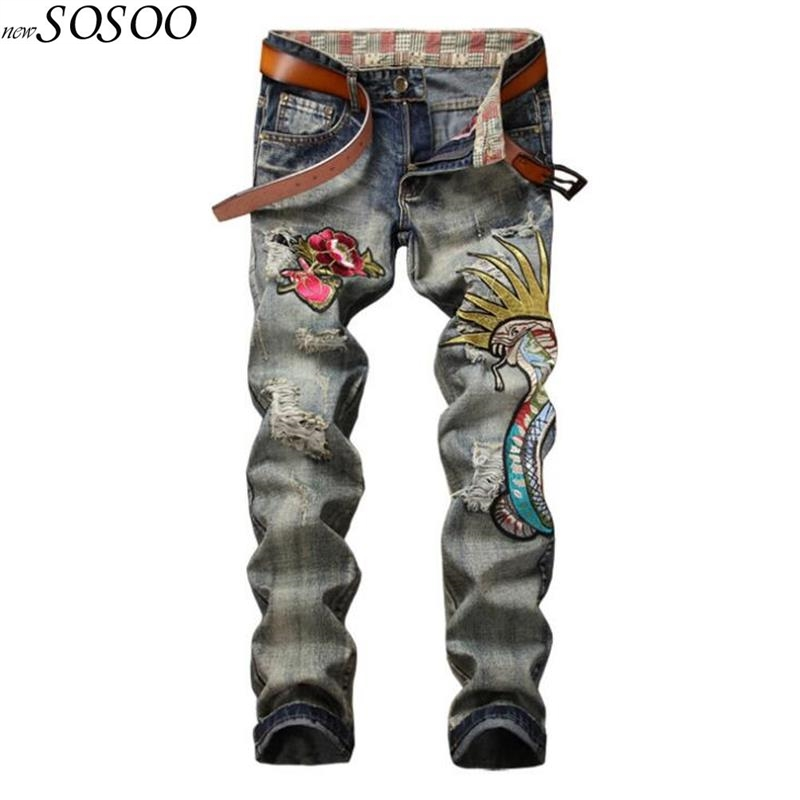 2018 new men's   jeans   flowers of embroidery knees holes   jeans   men locomotive badge straight fashion size 29-38 #803