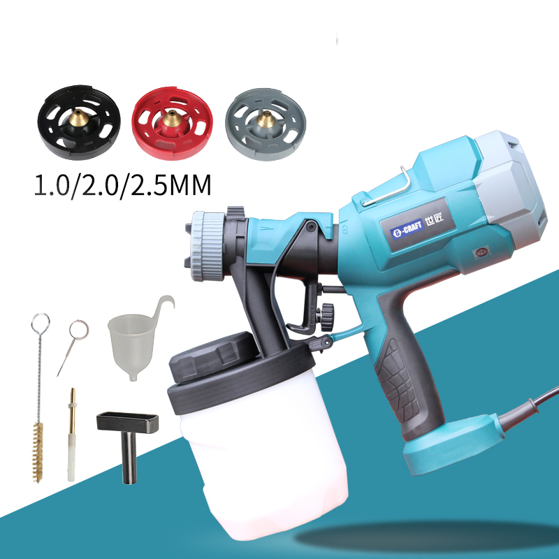 New 220V electric spray gun High atomization spray paint tools 900ml 1.0/2.0/2.5mm 500W