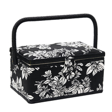 Multi-function Sewing Box with Kit Wooden&Fabric Covered Crafts DIY Kits Storage Basket Organizer Christmas Gif for Mom