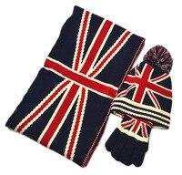 แบรนด์ใหม่ผู้ใหญ่ฤดูหนาวผ้าฝ้ายหมวกดาวข้าวธงแบบหมวก/ผ้าพันคอ/ถุงมือรวมกันสามชิ้นฤดูหนาว...