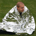 Portable Waterproof Emergency Tent Kits Folding Survival Hiking Rescue Thermal Space Blanket Cover Silver