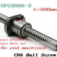 NEW 20mm SFU2005 3 Ball Screw Rolled ballscrew SFU2005 500mm with single 2005 flange ballnut for CNC part Free Shipping