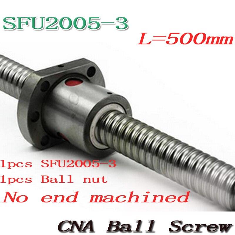 Nouveau 20mm SFU2005-3 vis à billes roulé vis à billes SFU2005 500mm avec simple 2005 bride écrou à billes pour CNC partie livraison gratuite