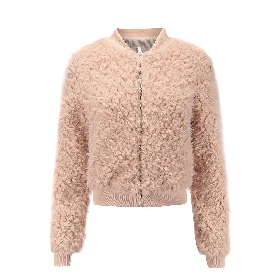 Basic     Jacket   Women Coat 2018 winter Fashion Autumn Plush stitching baseball uniform Zipper   jacket   short coats female   jackets