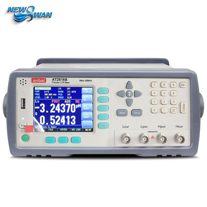 High Precision AT2816A Digital LCR Meter Tester Wide Frequency Range 50 Hz-200 kHz Built-in RS232C and handler interfaces digital lcr meter high precision at817d 50 hz 100ka hz 10 points l c r z d q brand new